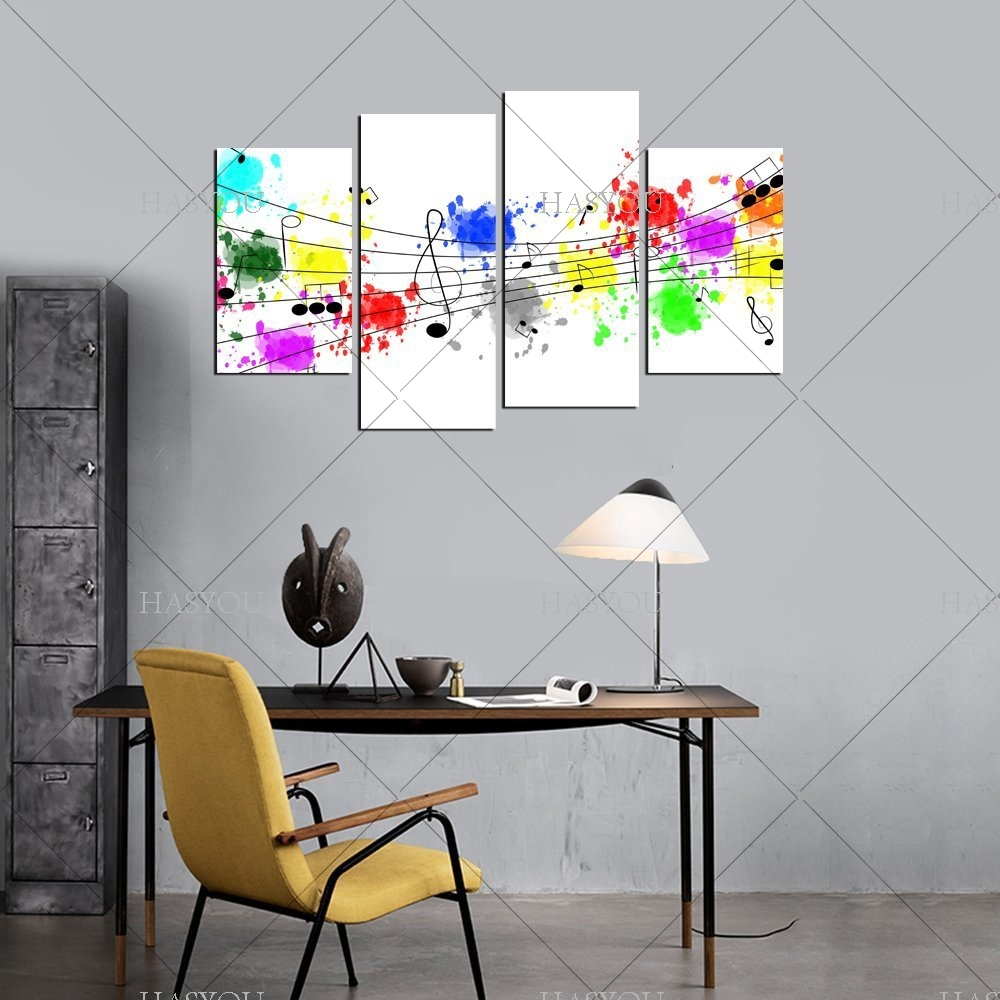 4 Pieces Still Life Pictures Handpainted Canvas Abstract Music Intended For Current Abstract Music Wall Art (View 4 of 20)