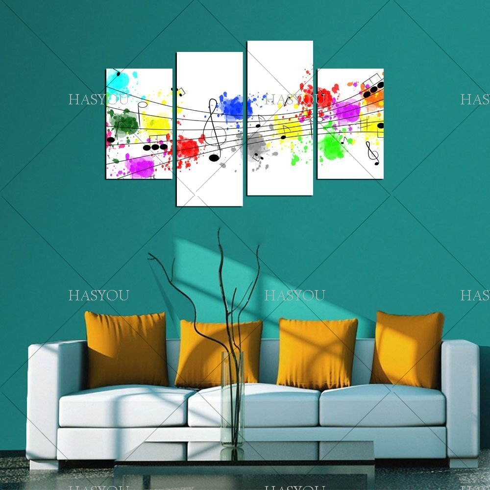 4 Pieces Still Life Pictures Handpainted Canvas Abstract Music Throughout Most Recently Released Abstract Music Wall Art (Gallery 9 of 20)