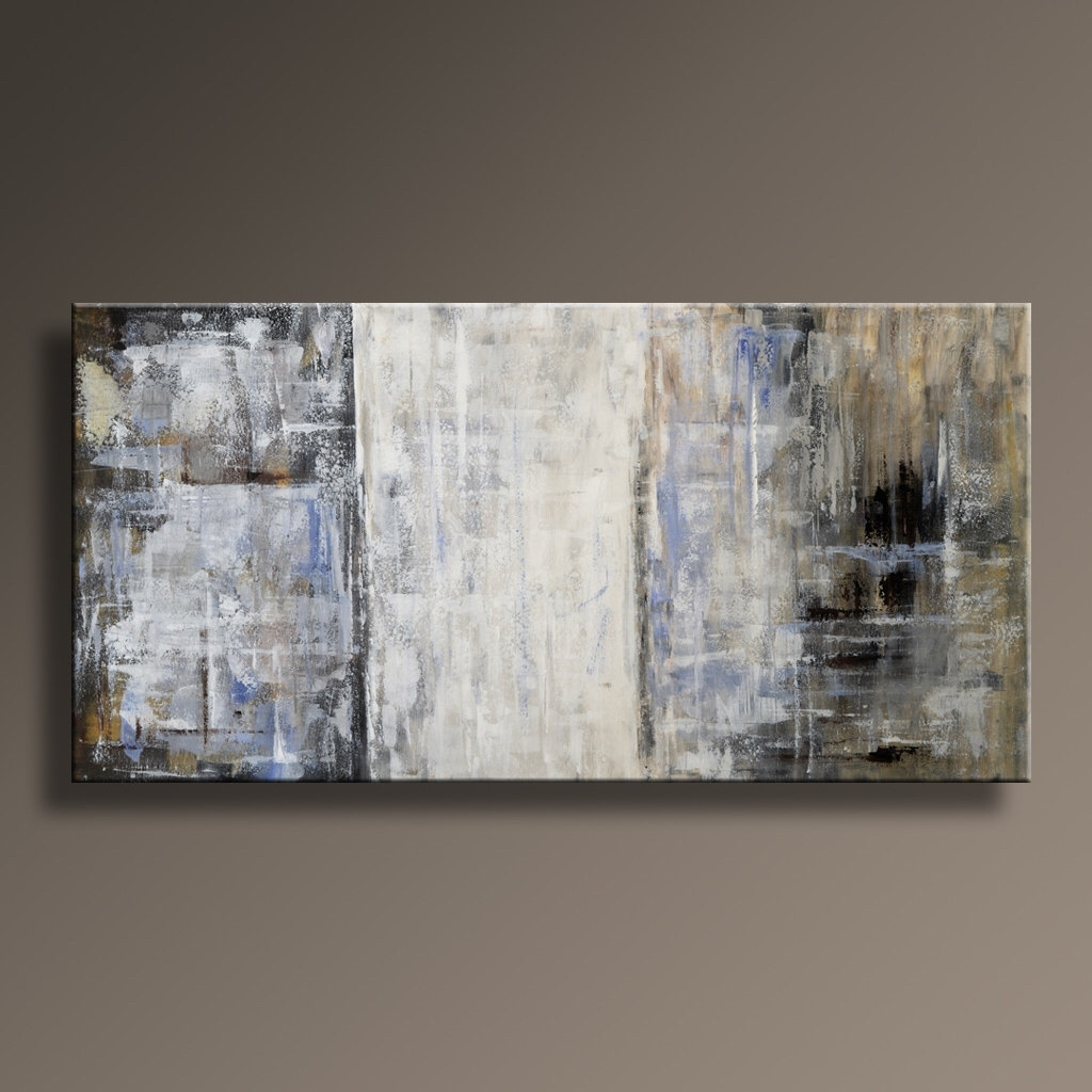 "48"" Original Abstract Painting Canvas Art Rustic Neutral In Best And Newest Neutral Abstract Wall Art (Gallery 1 of 20)"