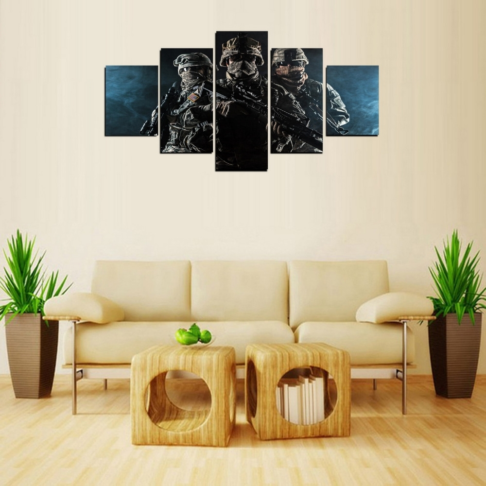 5 Panels Canvas Print Hd Picture Counter Strike Painting On Canvas Pertaining To Most Popular Limited Edition Canvas Wall Art (View 12 of 20)