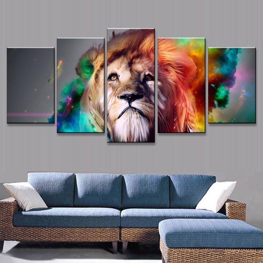5 Pcs/set Abstract Colorful Lion Head Print On Canvas Painting Pertaining To Most Popular Colorfulanimal Wall Art (View 10 of 20)