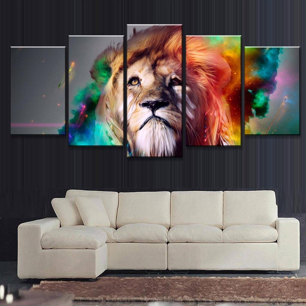 5 Pcs/set Abstract Colorful Lion Head Print On Canvas Painting throughout Most Recent Colorful Animal Wall Art