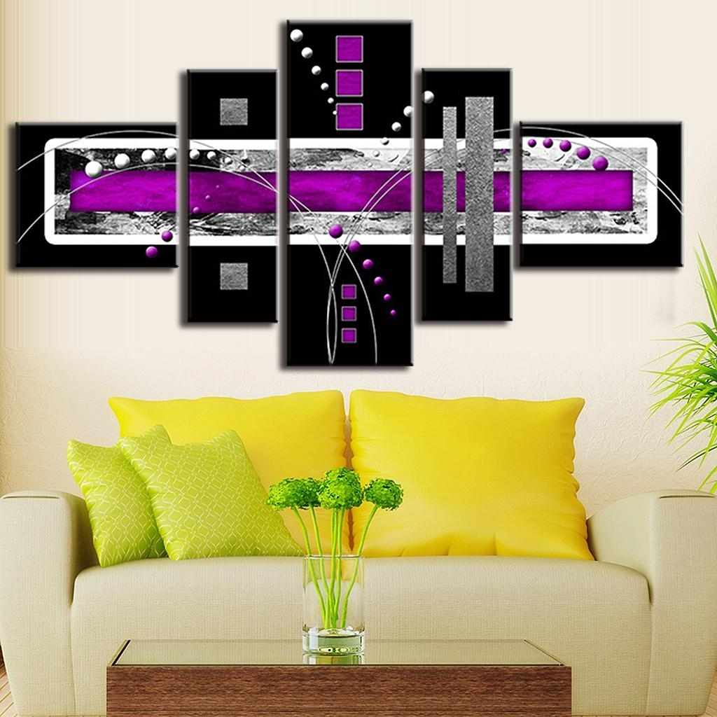 5 Pcs/set Abstract Oil Painting Purple Black Grey Canvas Wall Art pertaining to Most Current Grey Abstract Canvas Wall Art