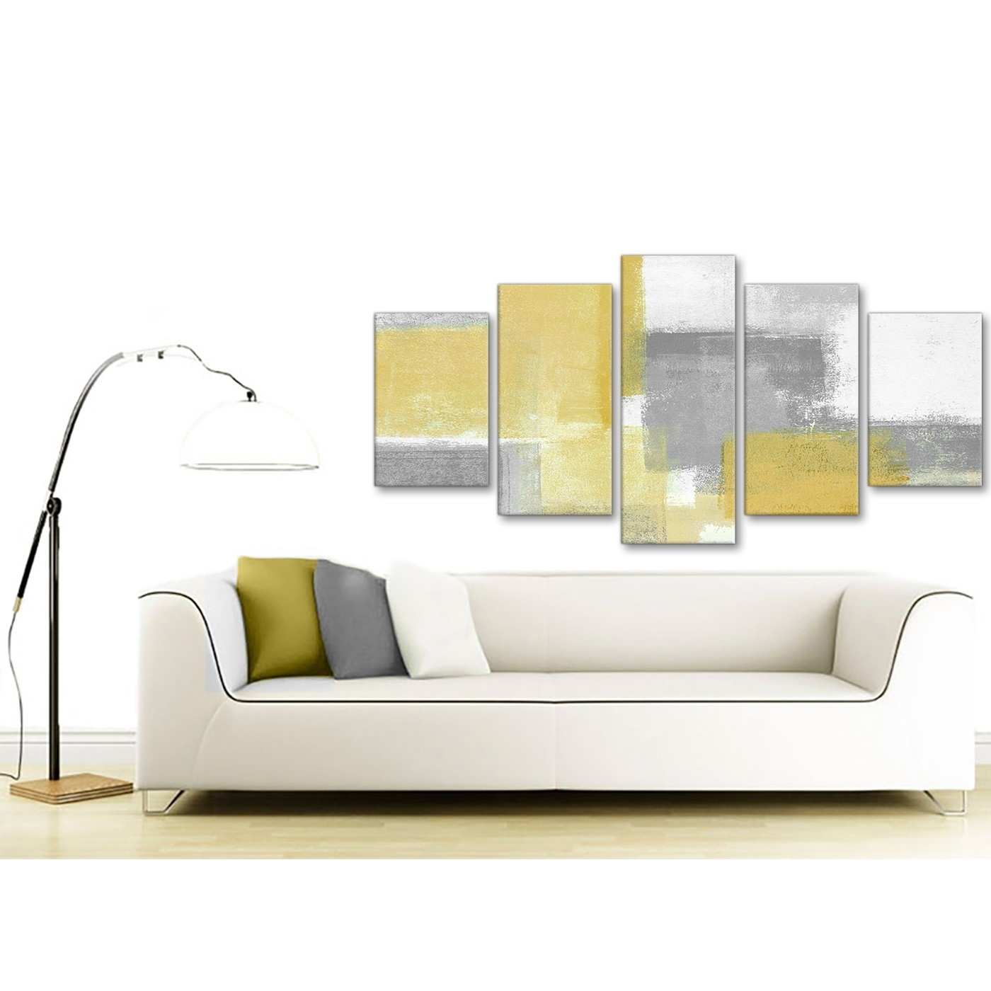 5 Piece Mustard Yellow Grey Abstract Living Room Canvas Wall Art for Recent Yellow And Grey Abstract Wall Art