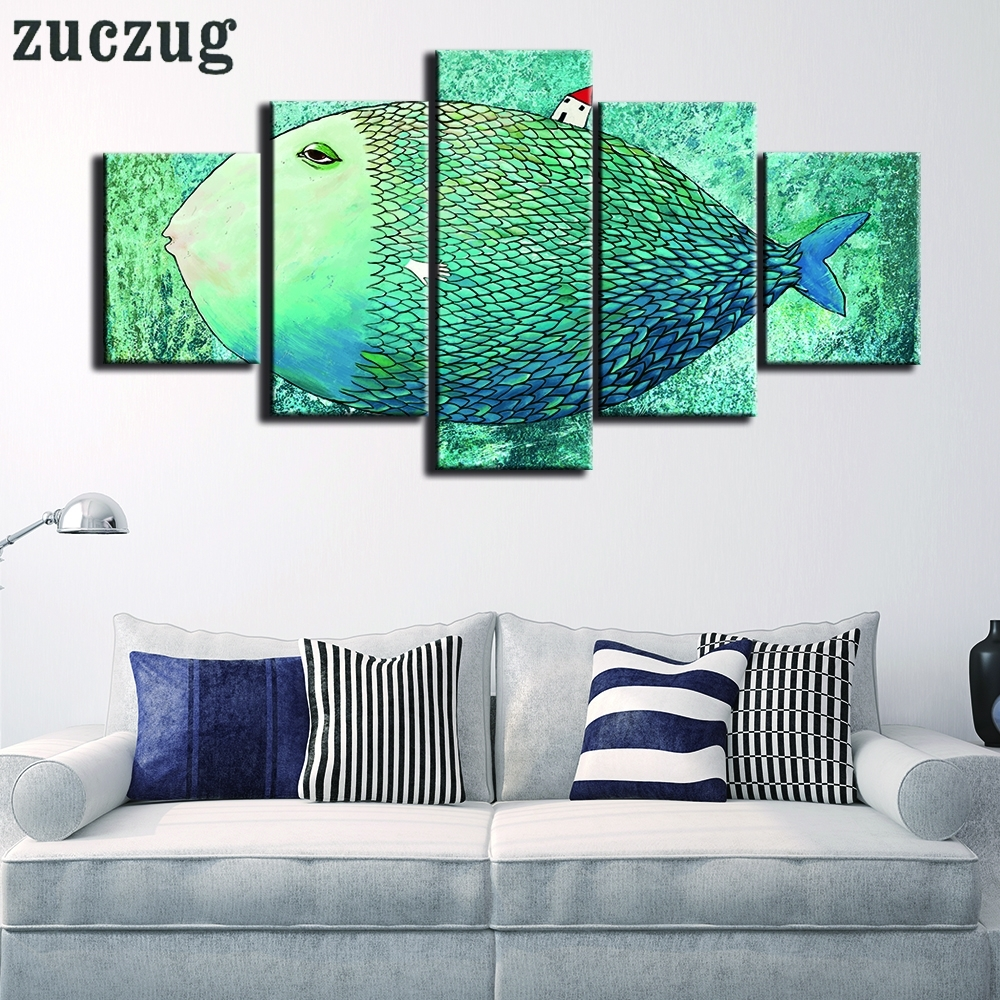 5 Pieces Nordic Art Canvas Painting Abstract Fish Wall Art pertaining to Newest Abstract Fish Wall Art