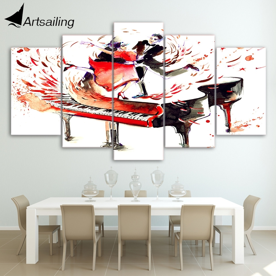 5 Piecs Canvas Art Abstract Piano Canvas Painting Hd Printed inside Most Up-to-Date Abstract Piano Wall Art