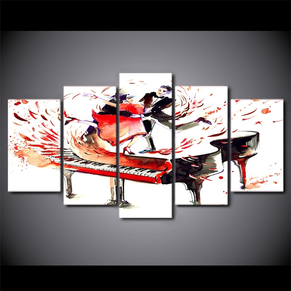 5 Piecs Canvas Art Abstract Piano Canvas Painting Hd Printed With Most Up To Date Abstract Piano Wall Art (View 3 of 20)