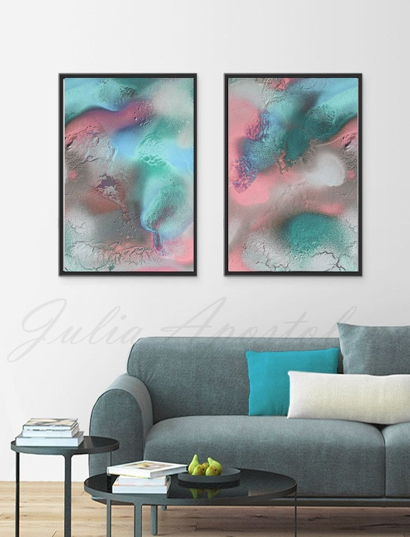 56X42Inch, Pastel Abstract Art, Diptych Painting, Turquoise And Regarding Best And Newest Pastel Abstract Wall Art (View 2 of 20)