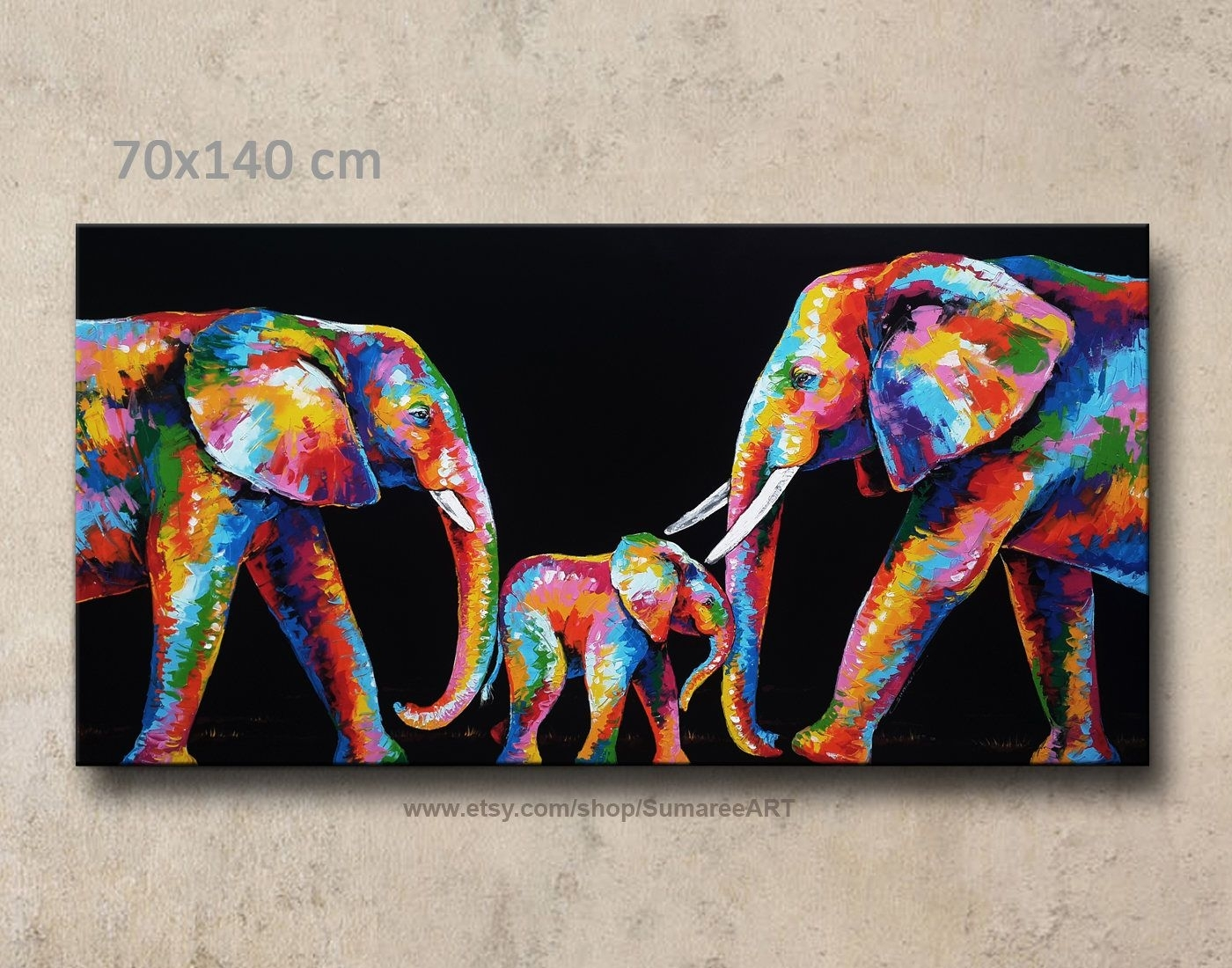 70 X 140 Cm,colorful Elephant Painting Wall Decor | Canvas Wall For Most Current Abstract Elephant Wall Art (View 15 of 20)