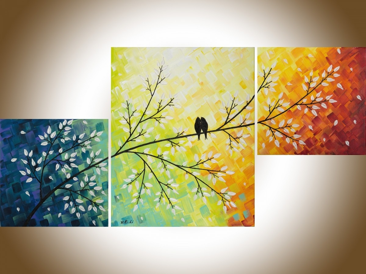 "A Warm Winterqiqigallery 40""x20"" Yellow Art Colorful Abstract Intended For Most Recent Abstract Bird Wall Art (View 4 of 20)"