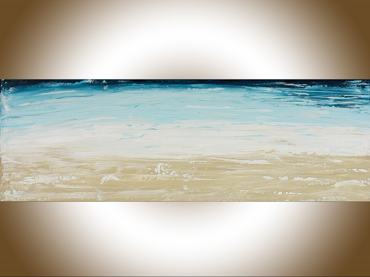 "Abstract #101qiqigallery 36"" X 12"" Abstract Landscape Painting In Most Recently Released Abstract Ocean Wall Art (View 12 of 20)"