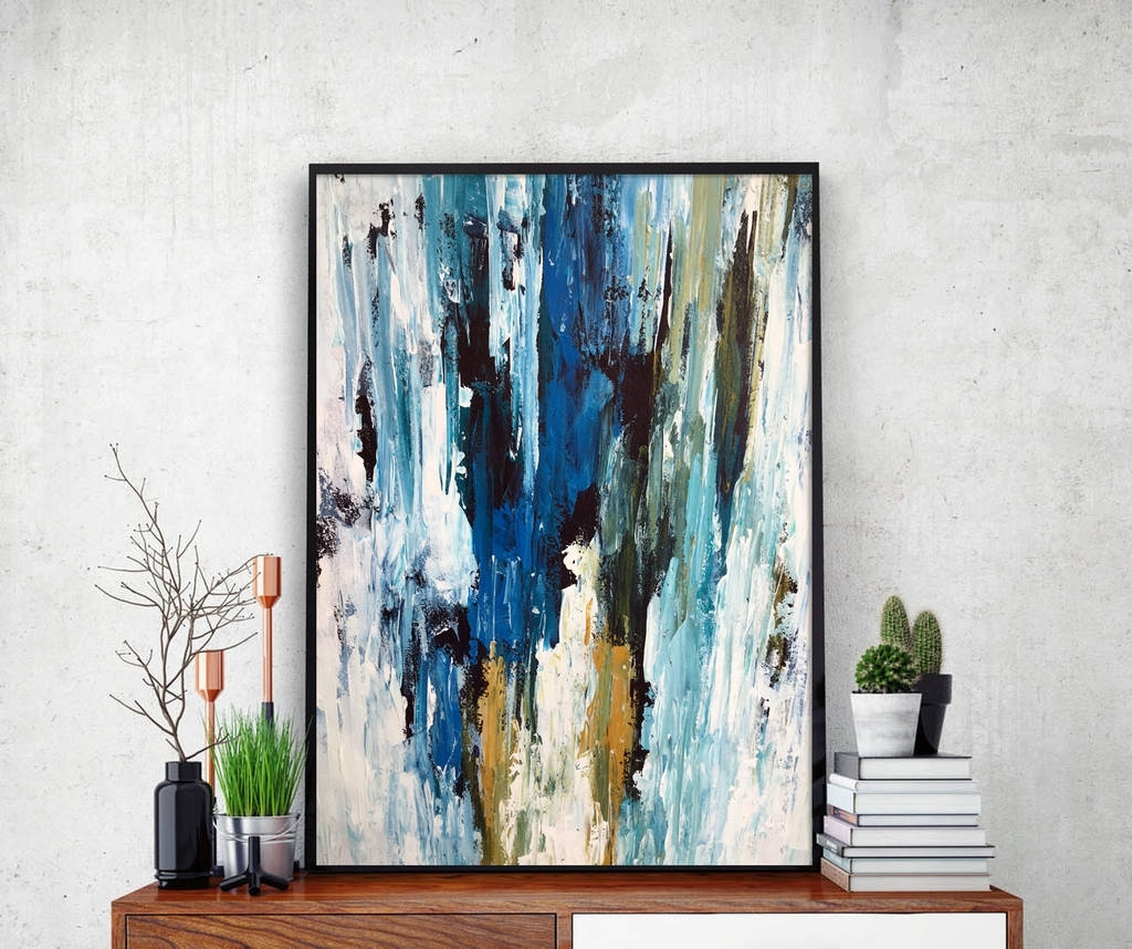 Abstract 49 Blue Abstract Wall Art Print A4 Or A5 Sizeomar Pertaining To Current Blue Abstract Wall Art (View 11 of 20)