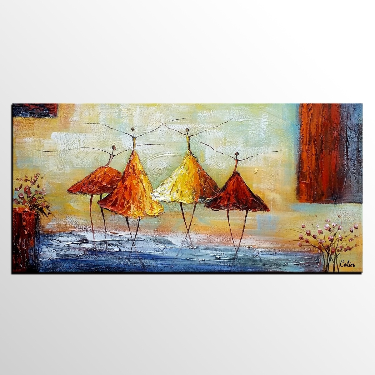 Abstract Art, Ballet Dancer Painting, Wall Art, Modern Art, Living With 2018 Modern Abstract Huge Oil Painting Wall Art (View 3 of 20)