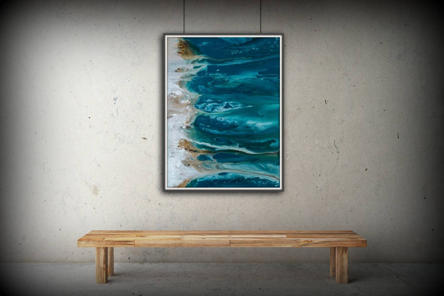 Abstract Art Blue Wall Art Coastal Landscape Giclee Large In Recent Coastal Wall Art Canvas (View 4 of 20)