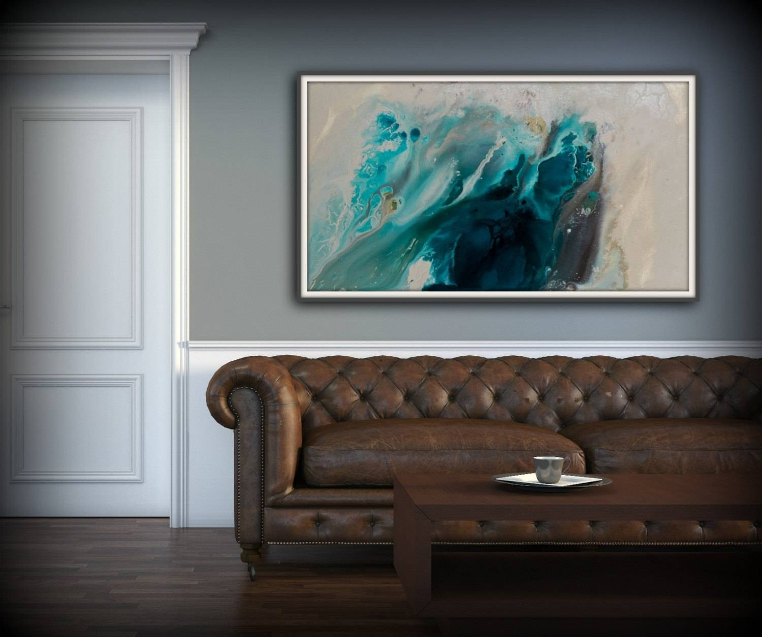 Abstract Art Blue Wall Art Coastal Landscape Giclee Large Print On For Most Current Large Coastal Wall Art (View 4 of 20)