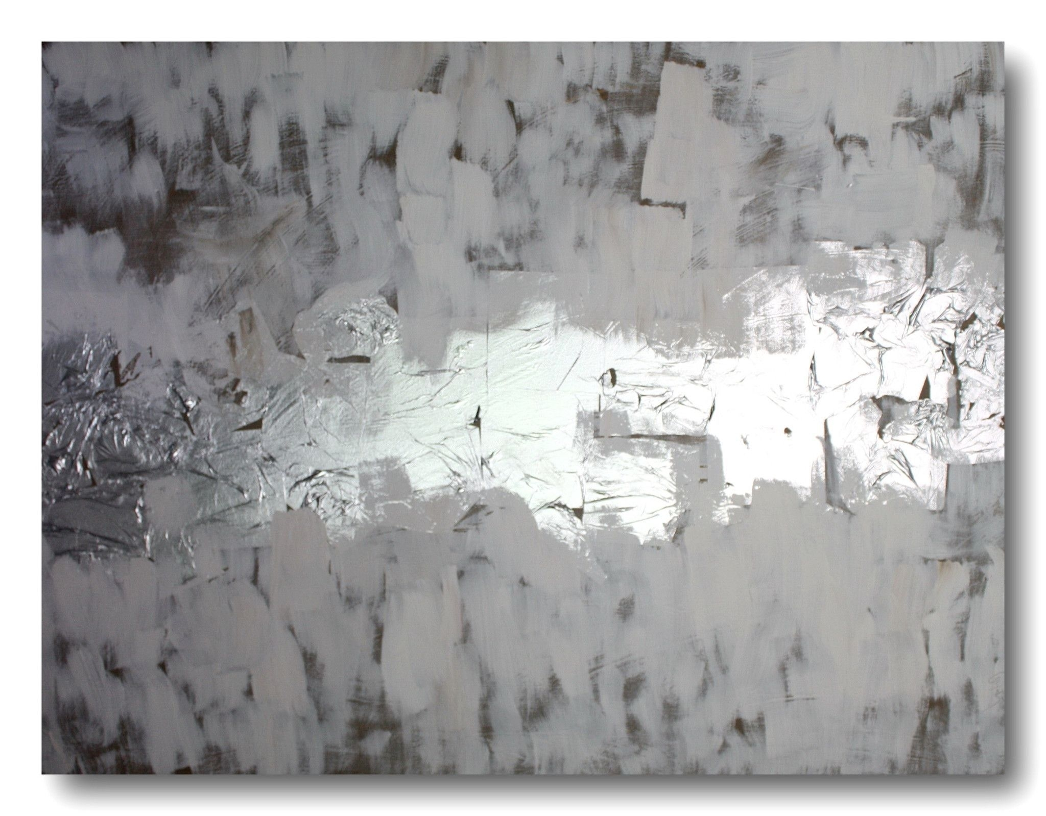 Abstract Art Canvas Painting Silver White Brown (View 5 of 20)