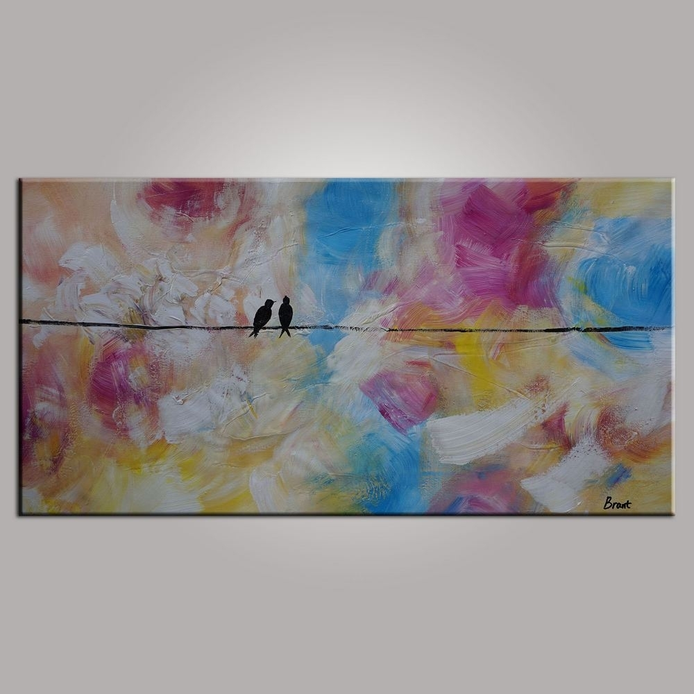 Abstract Art, Contemporary Wall Art, Modern Art, Love Birds Within Recent Abstract Wall Art Canvas (View 14 of 20)