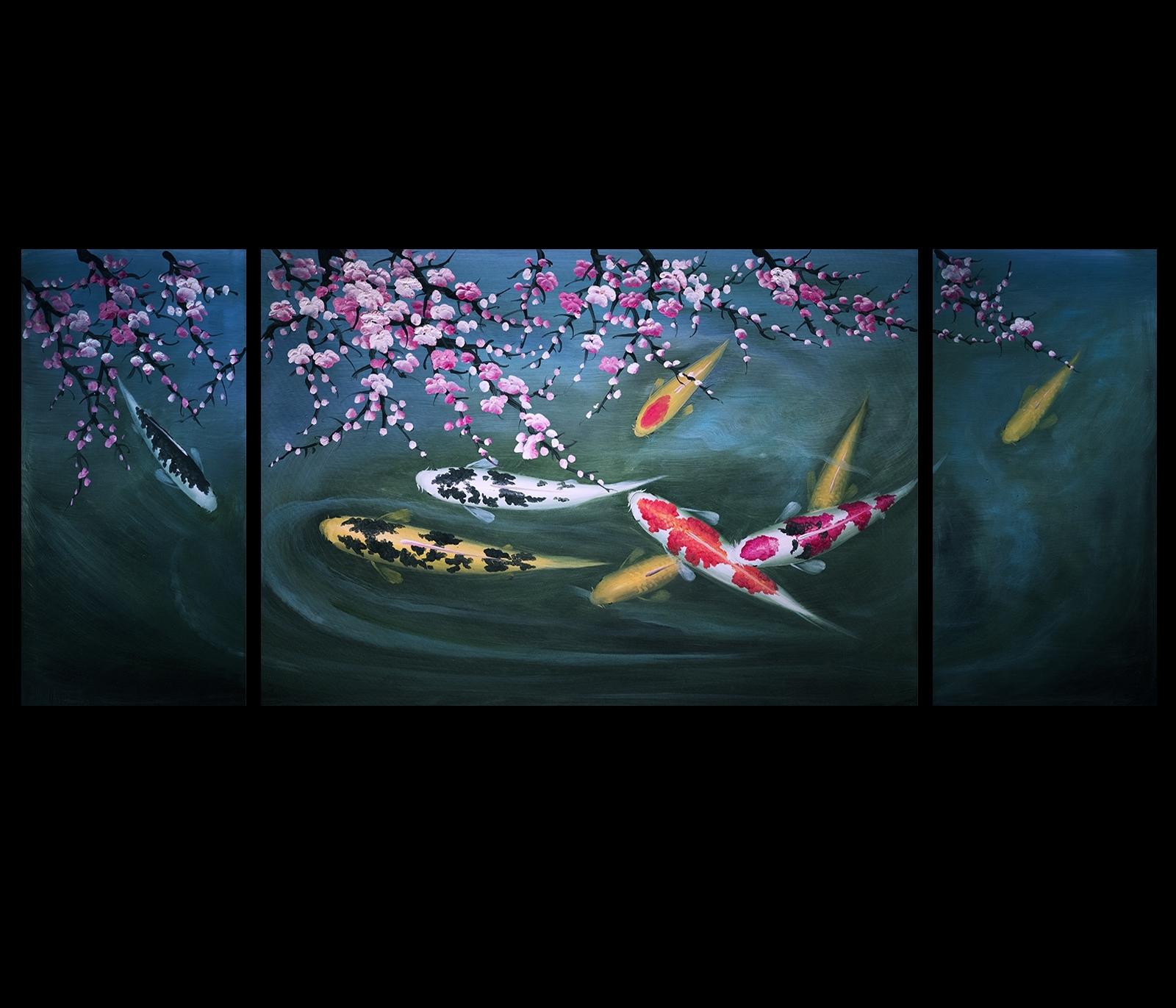 Abstract Art Koi Fish Painting Chinese Feng Shui Art Koi Painting Pertaining To Current Abstract Fish Wall Art (View 4 of 20)