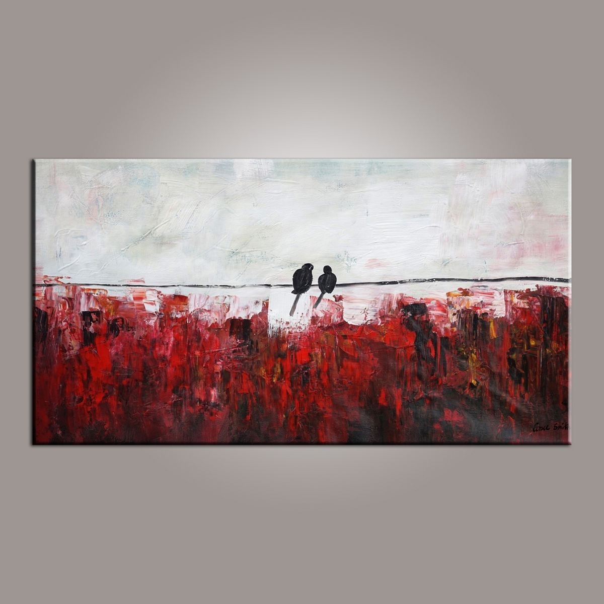 Abstract Art, Love Birds Painting, Painting For Sale, Modern Art Inside Most Recently Released Abstract Wall Art Living Room (View 3 of 20)