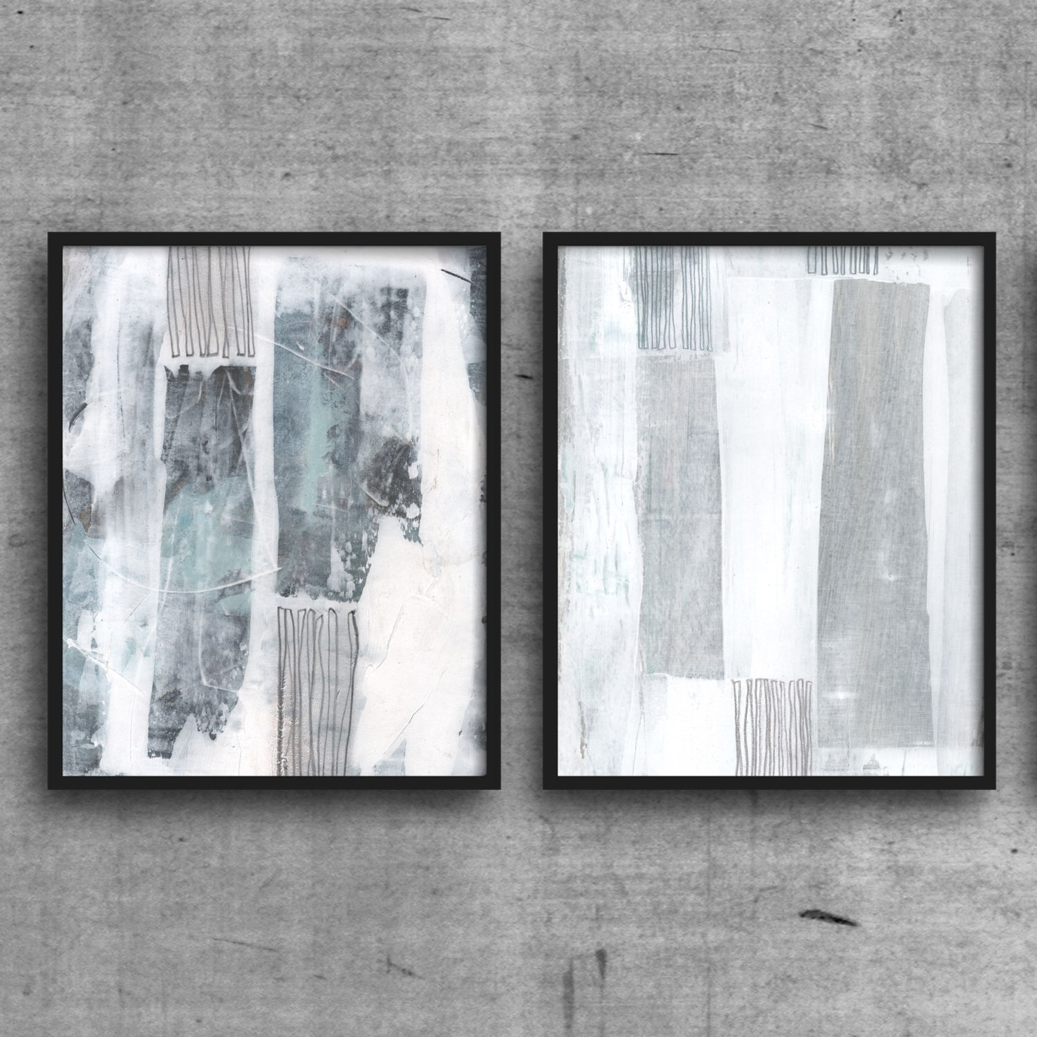 Abstract Art Print Set, Abstract Painting, Blue And White Wall Art Within Current Gray Abstract Wall Art (View 2 of 20)