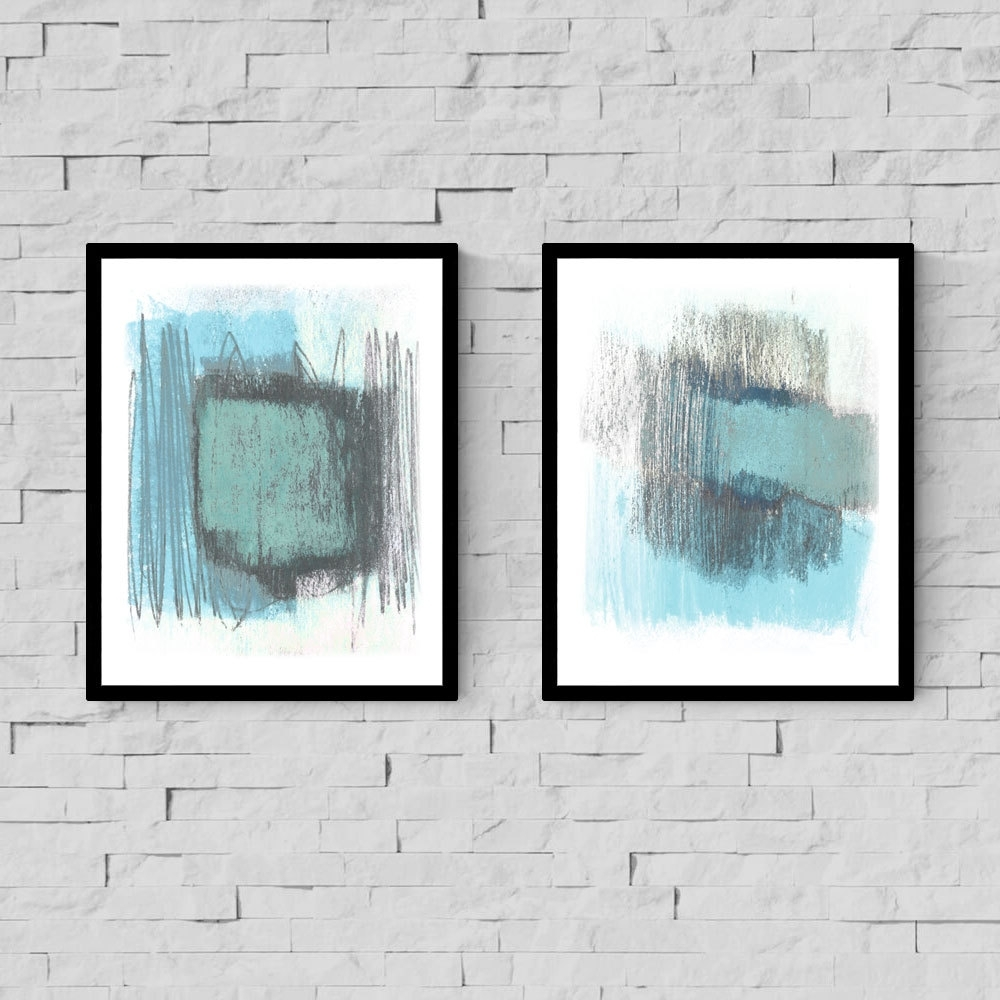 Abstract Art Print Set, Light Blue & White Print, Abstract Wall Within Current Light Abstract Wall Art (View 1 of 20)