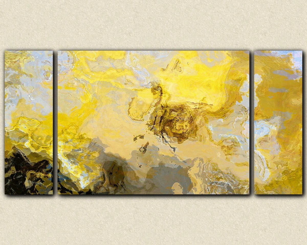 Abstract Art Print Triptych Oversize Canvas Print, In Yellow, Gray Regarding Most Popular Abstract Wall Art Prints (View 9 of 21)