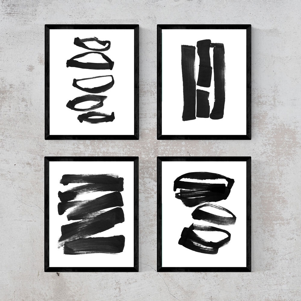 Abstract Art, Set Of 4 Prints, Abstract Black And White Wall Art Inside Most Up To Date Black And White Abstract Wall Art (View 4 of 20)