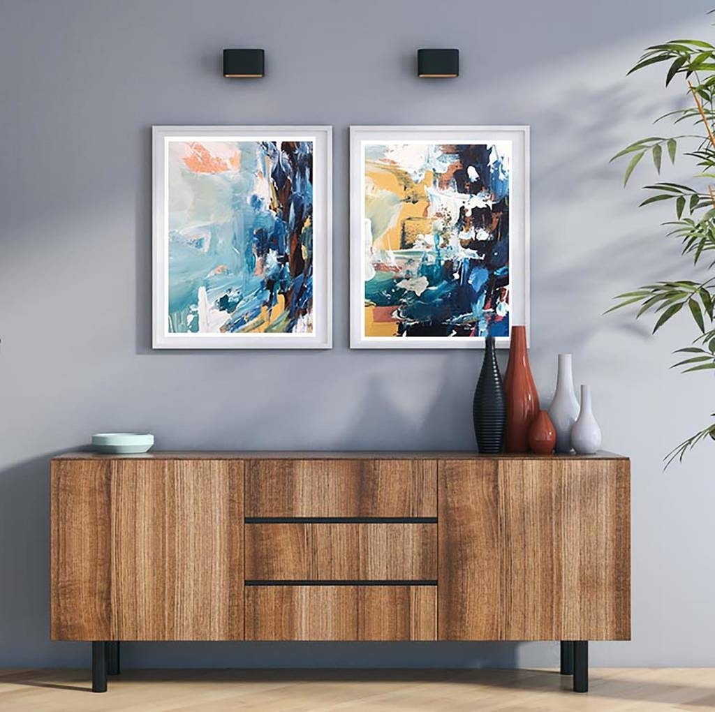 Abstract Art Set Of Two Art Prints Abstract Wall Artomar Obaid Regarding Most Current Abstract Wall Art Prints (View 2 of 21)