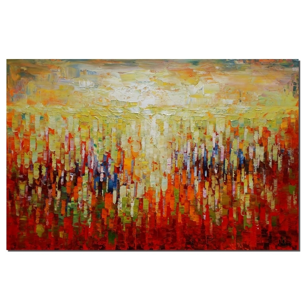 Abstract Canvas Art, Oil Painting, Large Painting, Kitchen Wall Pertaining To Best And Newest Long Abstract Wall Art (View 9 of 20)