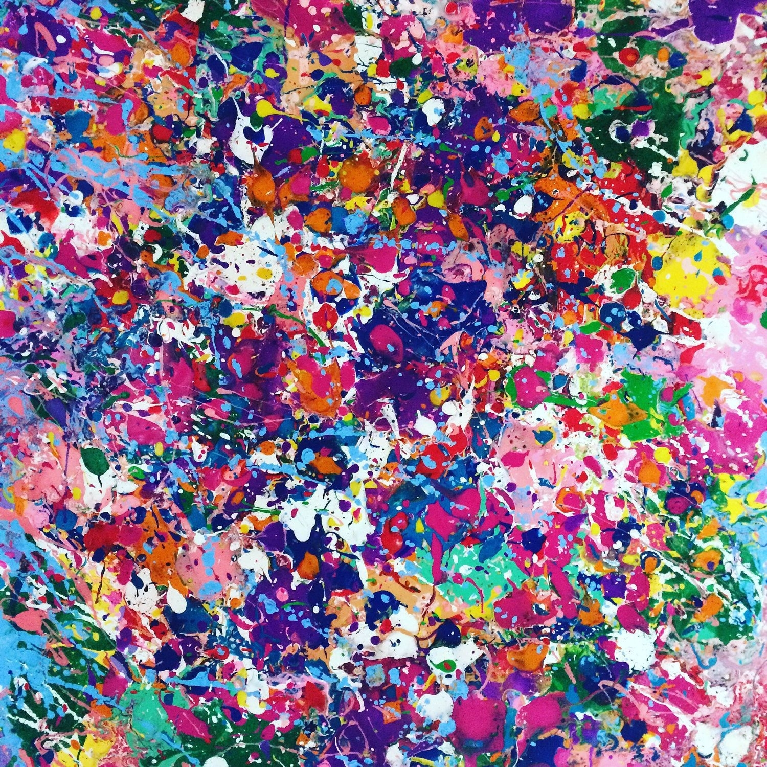 Abstract Canvas Art Splatter Painting Colorful Painting Large Wall In Most Up To Date Kirby Abstract Wall Art (View 19 of 20)