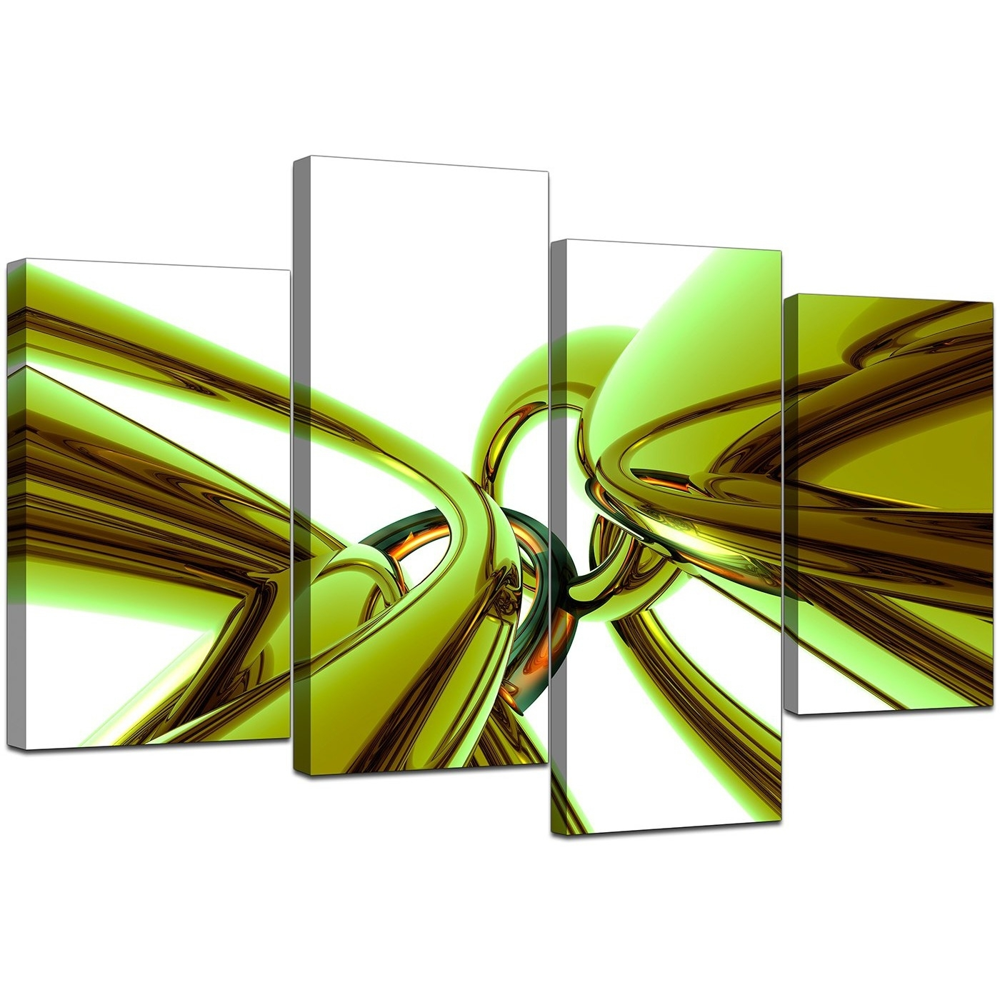 Abstract Canvas Wall Art In Green For Your Living Room – Set Of 4 Intended For Most Recently Released Lime Green Abstract Wall Art (View 4 of 20)