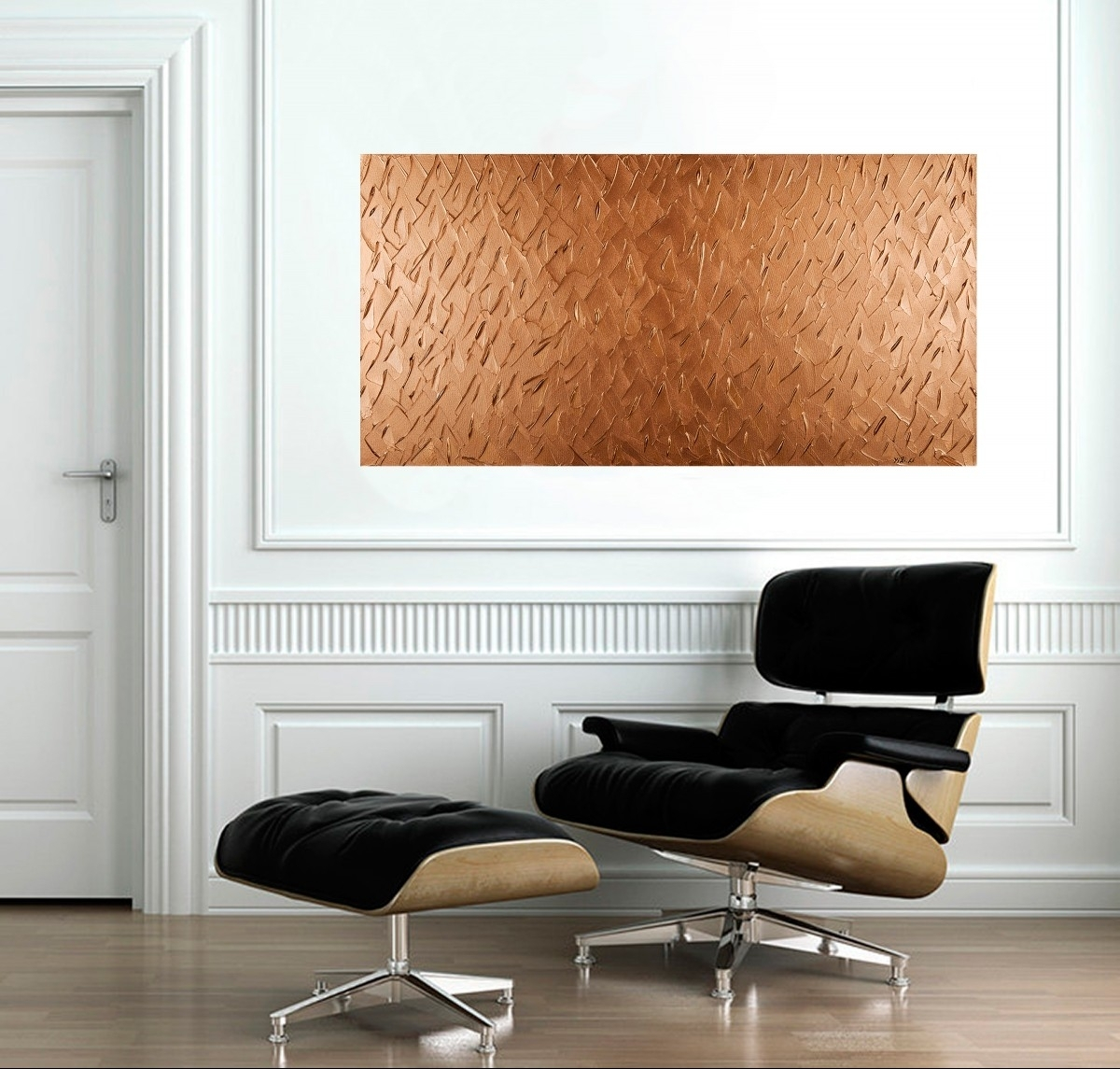 "Abstract Copper Texture Paintingqiqigallery 48""x24"" Original Throughout Most Recently Released Abstract Office Wall Art (View 1 of 20)"