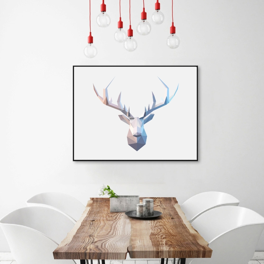 Abstract Deer Head Wall Art Print Pictures , Geometric Polygonal Throughout Latest Abstract Deer Wall Art (View 2 of 20)