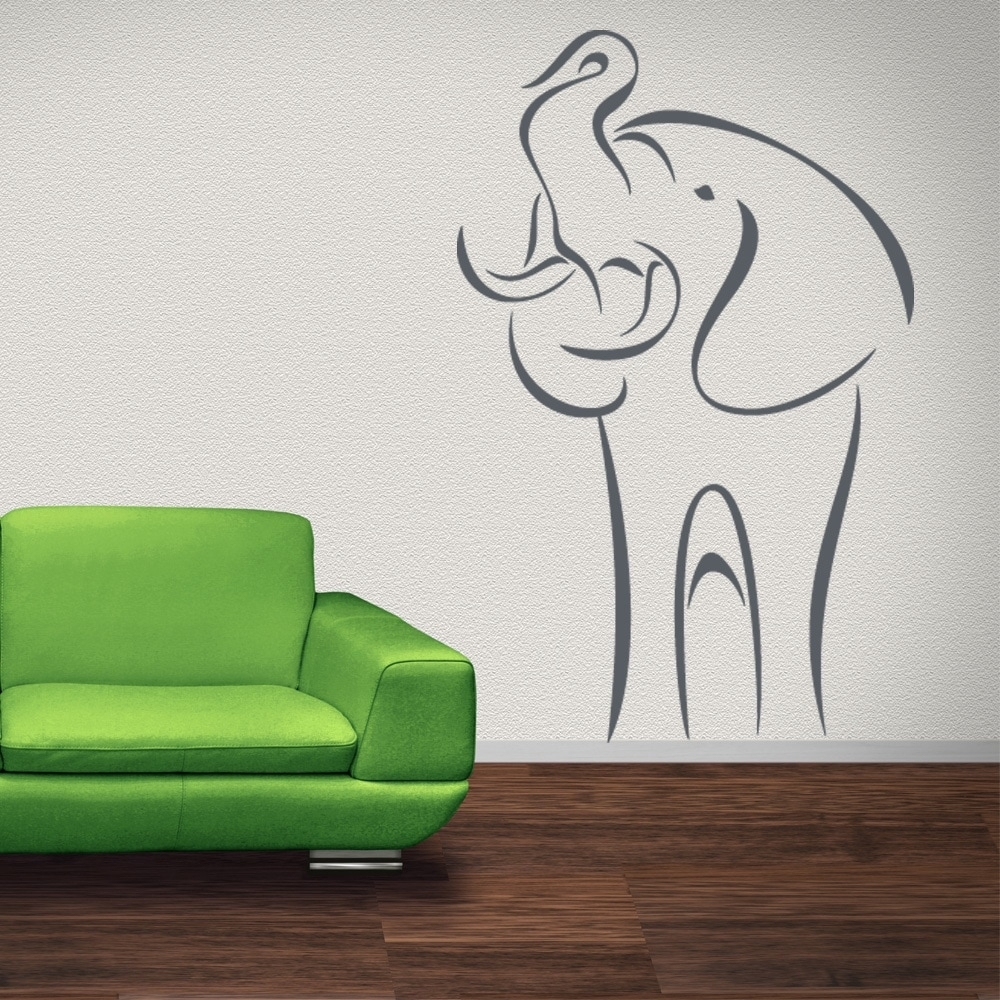 Abstract Elephant Wall Decal Sticker Mural Vinyl Decor Wall Art | Ebay Inside Newest Abstract Elephant Wall Art (View 7 of 20)