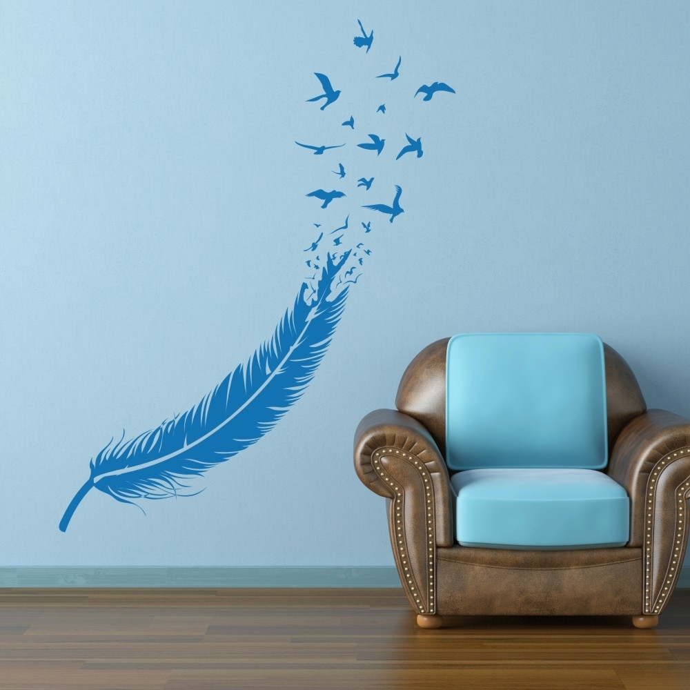 Abstract Feather Into Birds Vinyl Wall Decal Custom Your Color For Latest Abstract Graphic Wall Art (View 20 of 20)