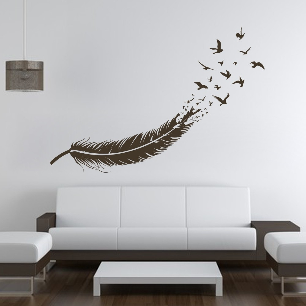 Abstract Feather Into Birds Vinyl Wall Decal Custom Your Color Pertaining To Most Popular Abstract Graphic Wall Art (View 19 of 20)