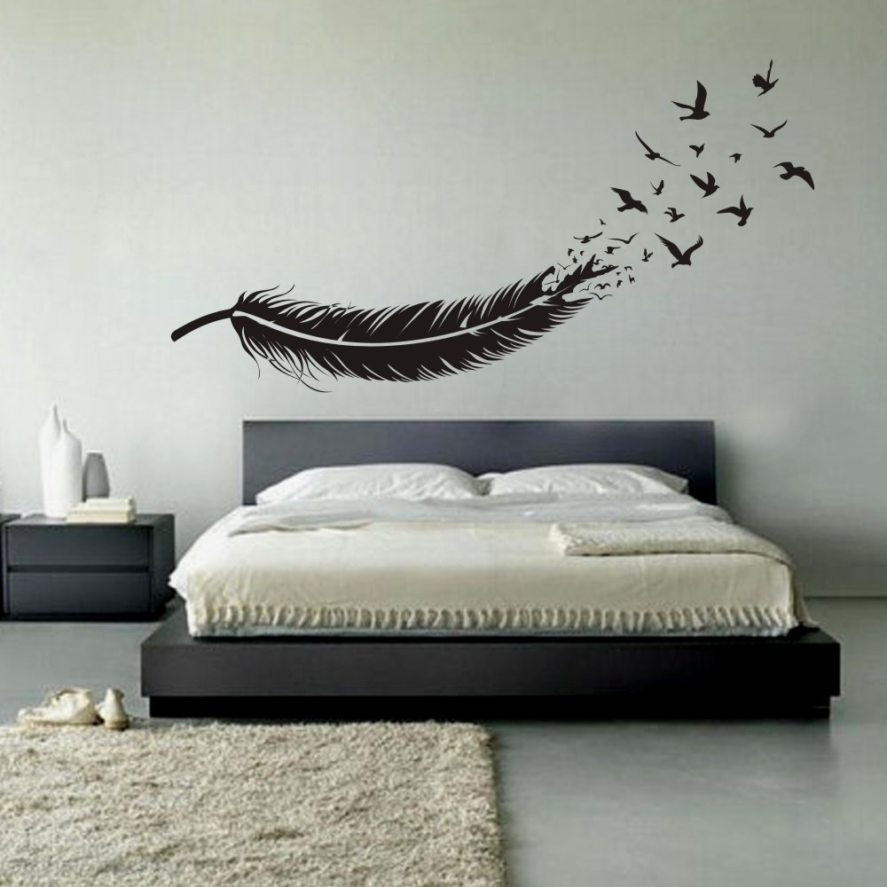 Abstract Feather Into Birds Vinyl Wall Decal Custom Your Color Regarding Newest Abstract Art Wall Decal (View 4 of 20)