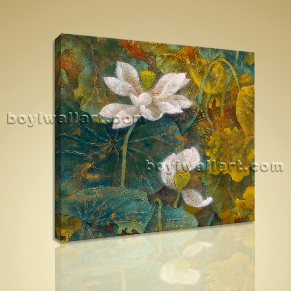 Abstract Floral Painting Hd Print Canvas Wall Art Water Lily Flower Intended For Current Abstract Floral Canvas Wall Art (View 15 of 20)