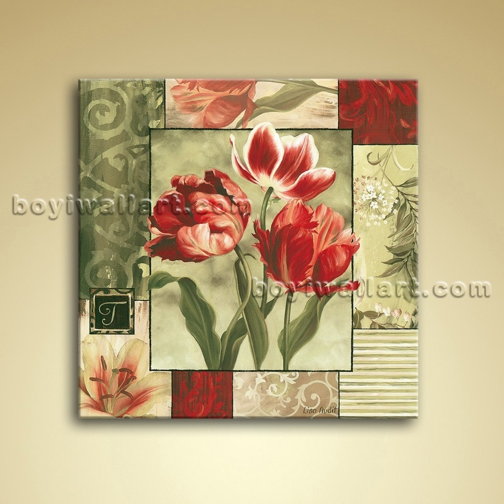 Abstract Floral Painting Oil Canvas Wall Art Tulip Flower Throughout Most Recently Released Abstract Flower Wall Art (View 18 of 20)