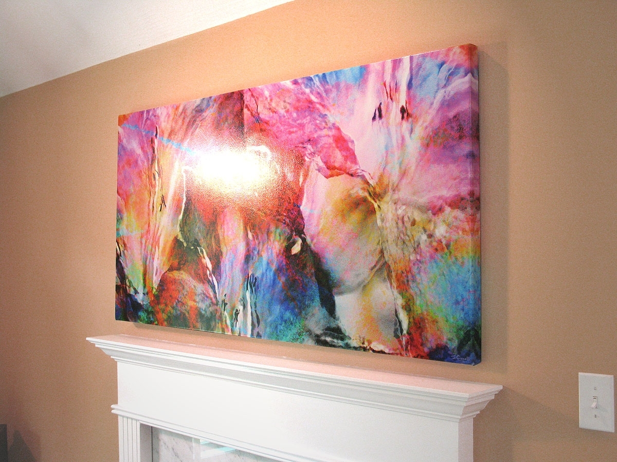 Abstract Flower Art Large Canvas Painting Floralcianelli Studios Inside Most Current Horizontal Abstract Wall Art (View 2 of 20)