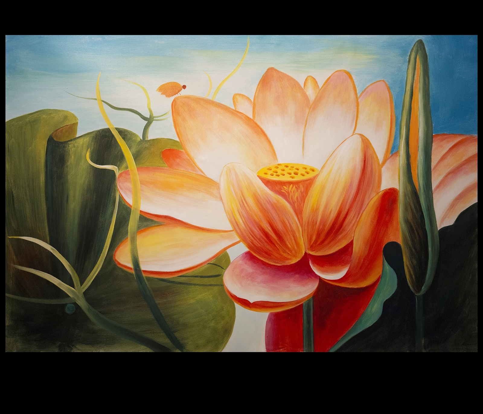 Abstract Flower Painting Lotus Flower Painting Asian Wall Decor With Regard To Best And Newest Abstract Flower Wall Art (View 10 of 20)