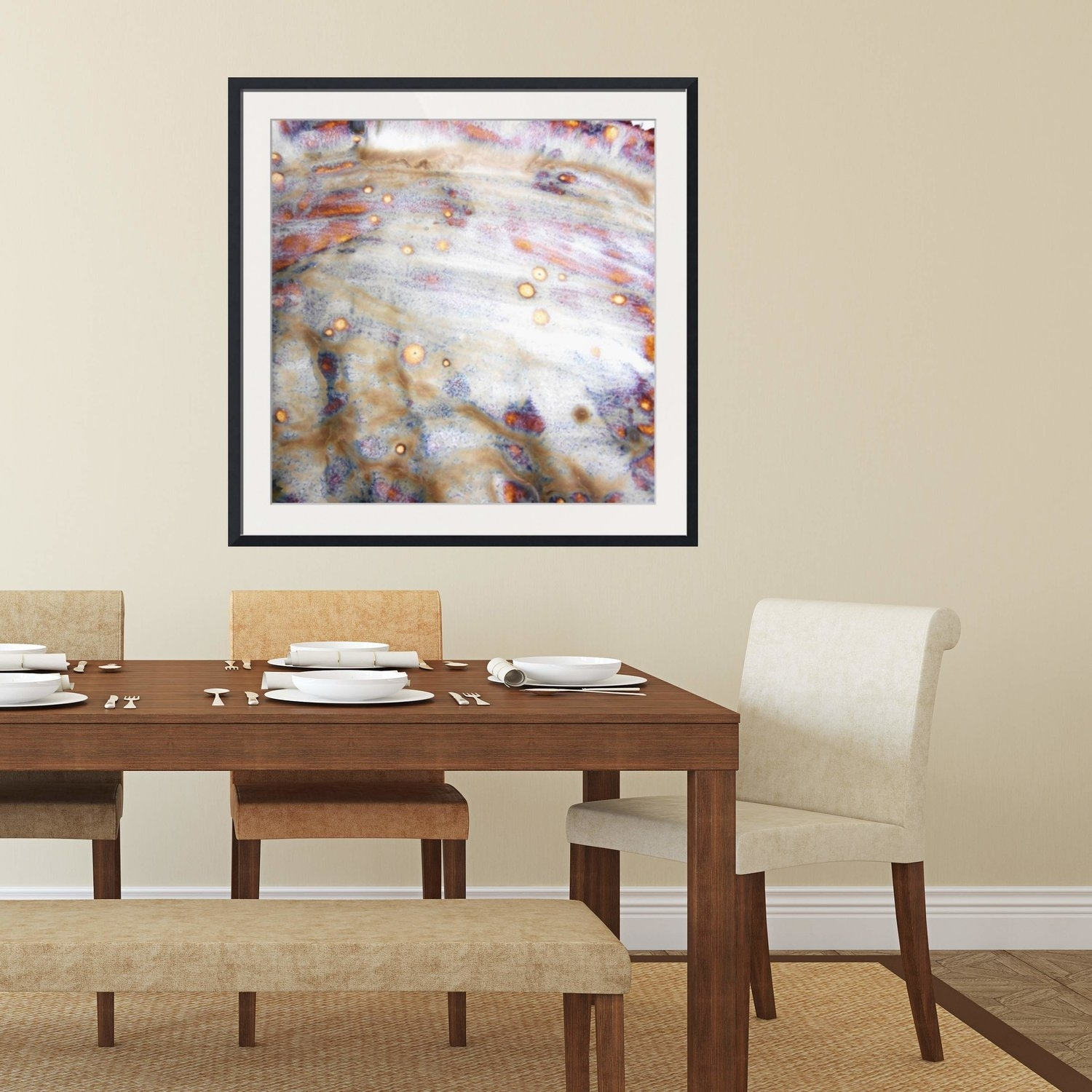 Abstract Framed Wall Art – Square #4 V2 | Rustic Artwork, Modern Throughout Most Recent Abstract Wall Art For Dining Room (View 8 of 20)