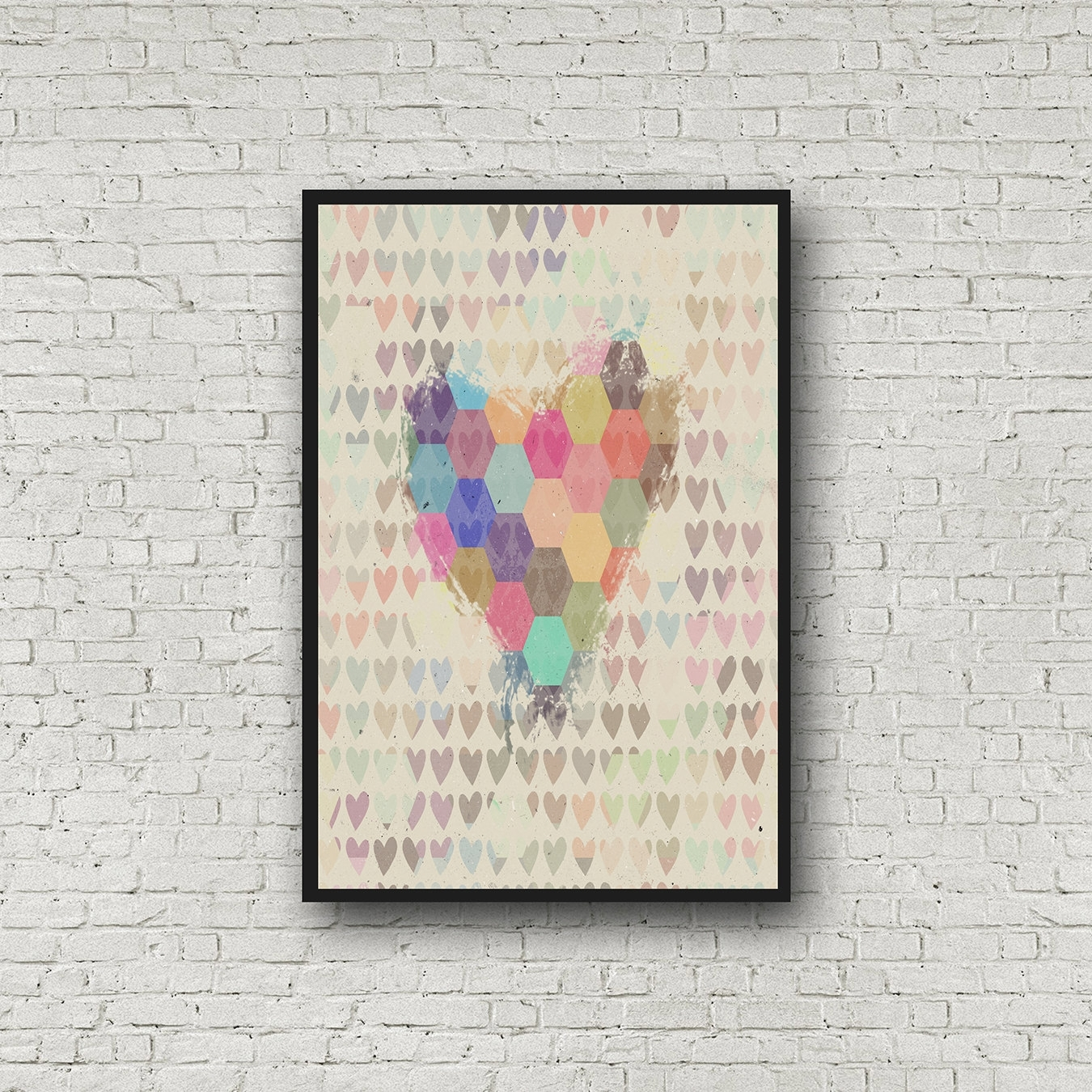 Abstract Heart Wall Art Geometric Heart Print Dorm Wall Art Intended For 2018 Abstract Heart Wall Art (View 4 of 20)