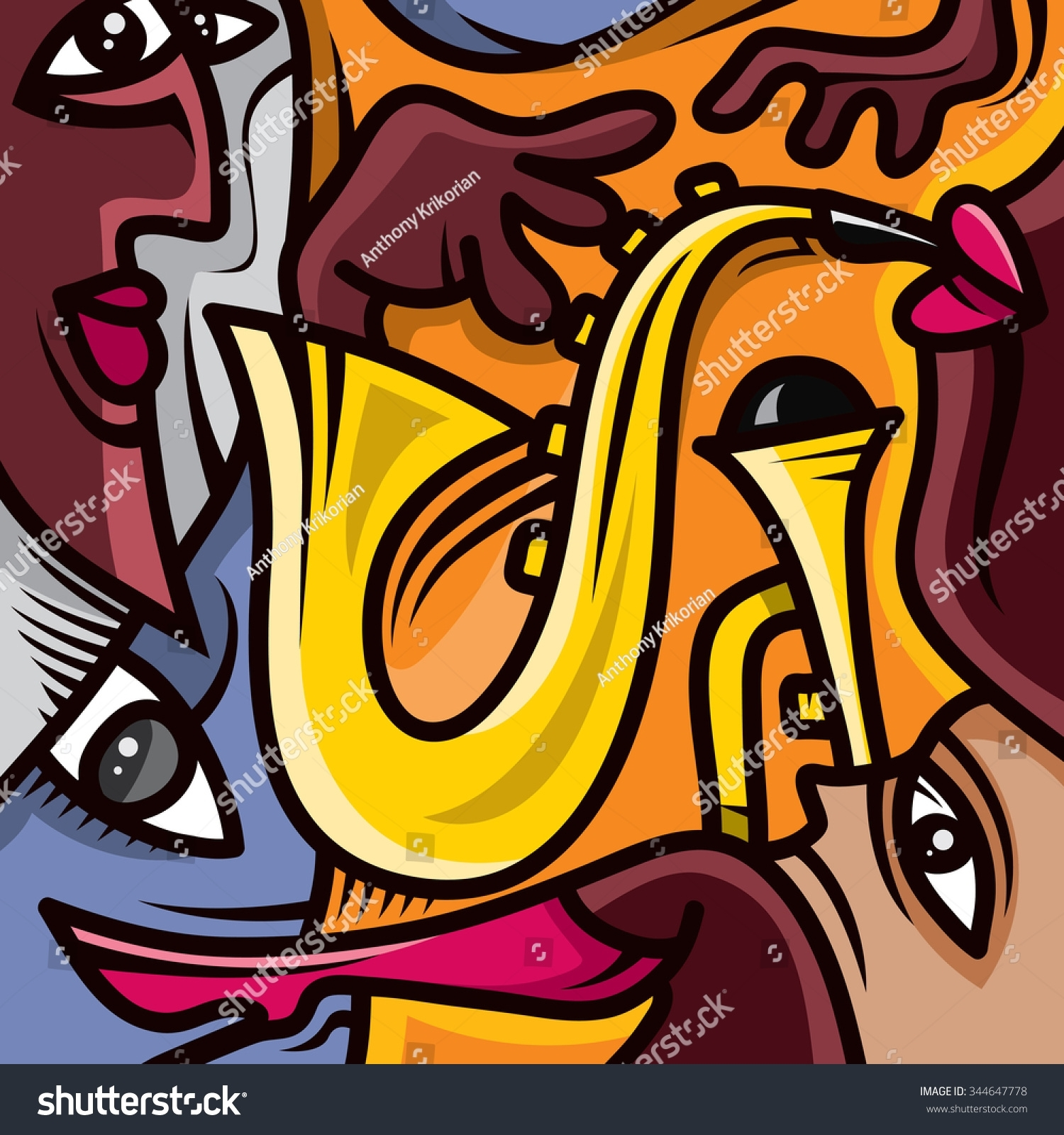 Abstract Jazz Art Music Band Instruments Stock Vector 344647778 Inside Recent Abstract Jazz Band Wall Art (View 3 of 20)