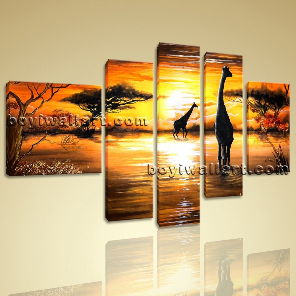 Abstract Landscape Wall Art Print On Canvas Hd Giraffe Sunset With Regard To Current Abstract Landscape Wall Art (Gallery 19 of 20)
