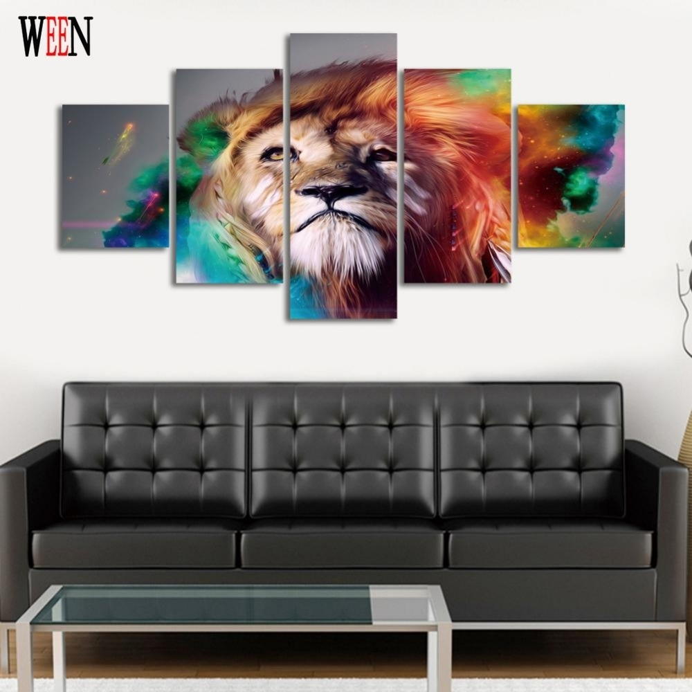 Abstract Lion Colorful Animals Wall Art Hd Printed Home Decor For With Most Up To Date Abstract Lion Wall Art (View 6 of 20)