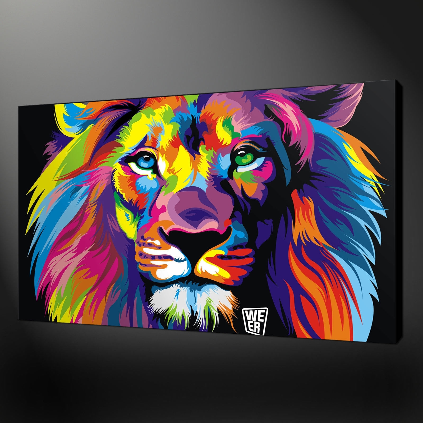 Abstract Lion Quality Canvas Print Picture Wall Art Design Free Uk Regarding Latest Abstract Lion Wall Art (View 1 of 20)