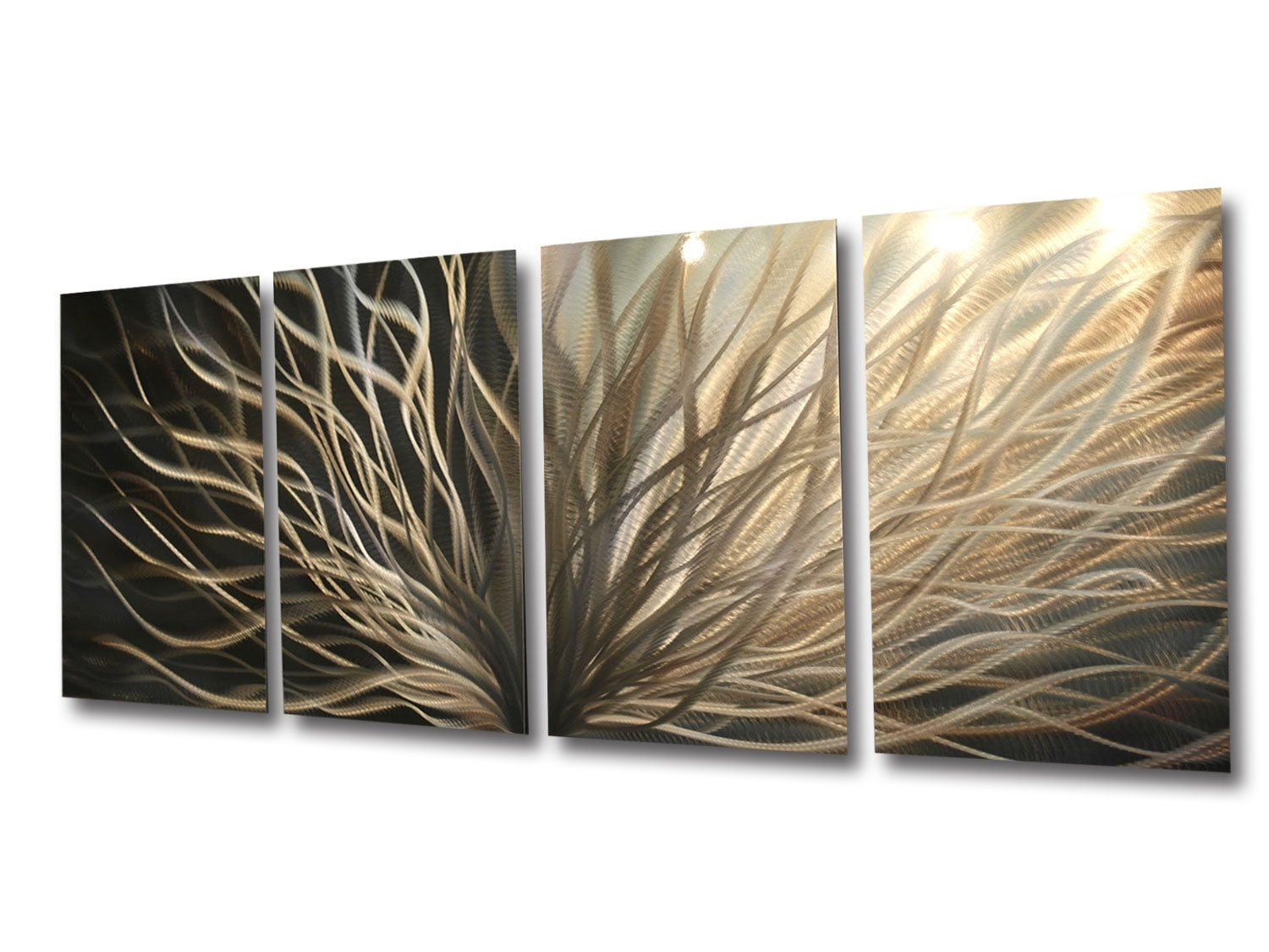 Abstract Metal Wall Art Radiance Gold Silver Contemporary Modern In Most Current Abstract Leaf Metal Wall Art (View 2 of 20)