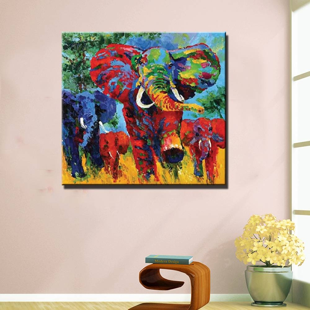 Abstract Modern Canvas Art Elephant Picture Painting Hand Painted Regarding Current Colorfulanimal Wall Art (View 18 of 20)