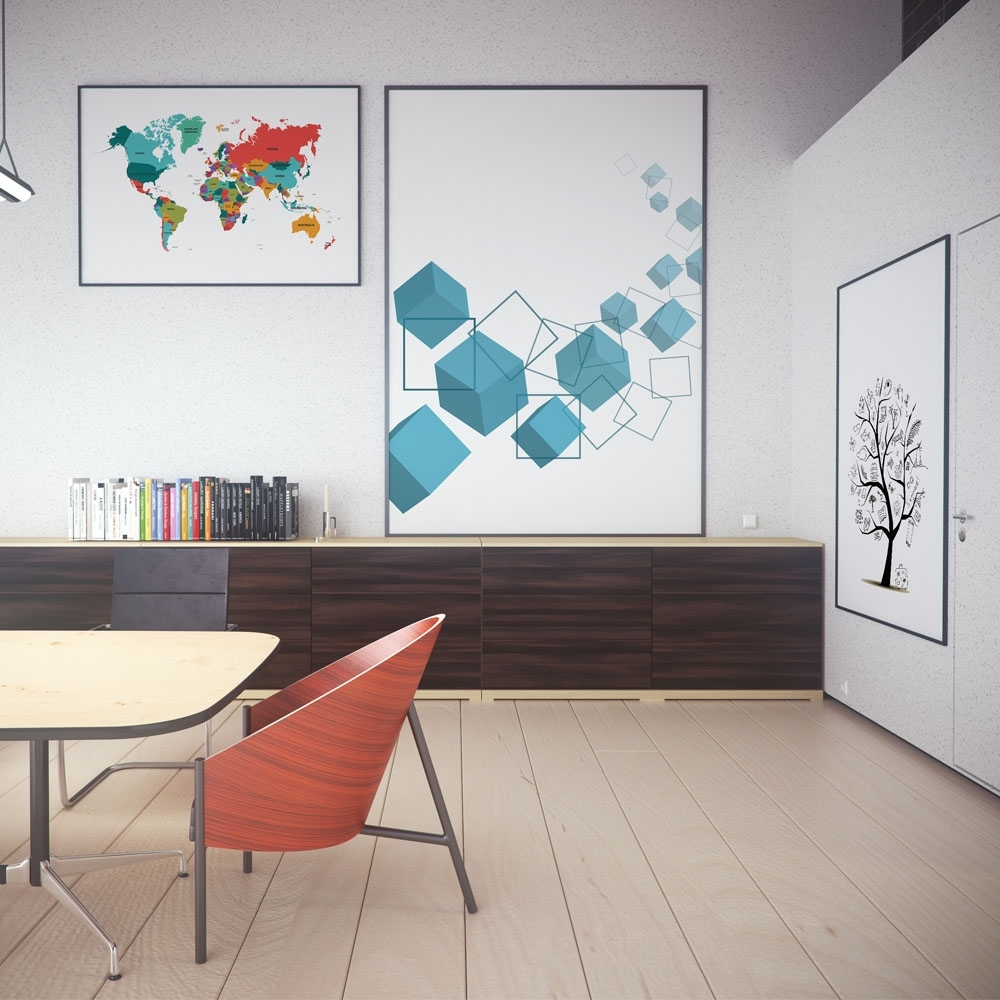 Abstract Modern World Map Graphic Color Poster Print Wall Art With Regard To Recent Abstract Graphic Wall Art (View 10 of 20)